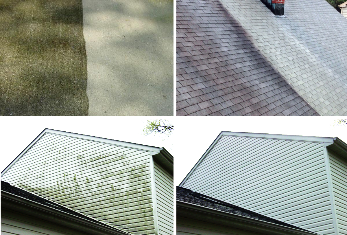 Pressure power washing a house to sell
